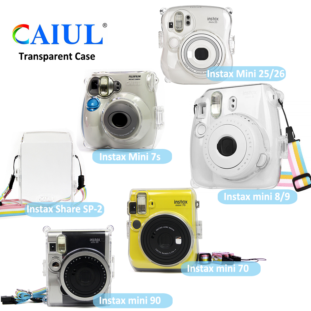 Transparent Crystal Plastic Cover Protective Case Bag with Strap For Fujifilm Instax Mini Camera For Mini 8 9 7s 25 26 70 90 SP2