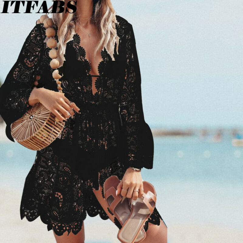 2020 HOT Summer Women Bikini Cover Ups Floral Lace Hollow Crochet Swimsuit Cover-Ups Bathing Suit Beachwear Tunic Beach Dress