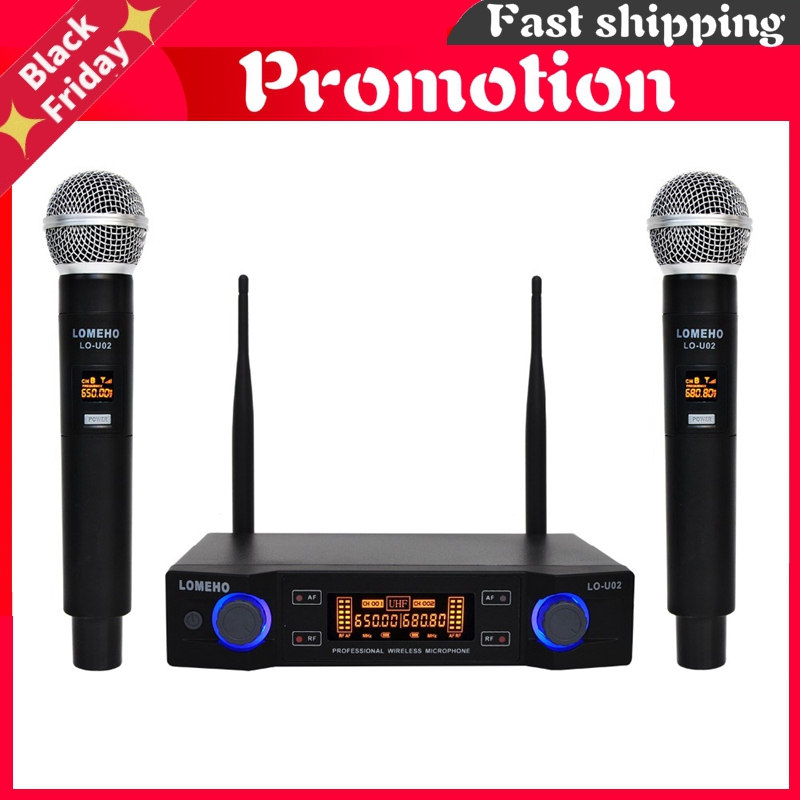 Lo-U02 2 Handheld Uhf Frequencies Dynamic Capsule 2 Channels Wireless Microphone For Karaoke System