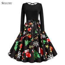 Seluxu 2019 Winter Christmas Dresses Women Vintage Robe Swing Pinup Elegant Party Dress Long Sleeve Casual Plus Size Print Black