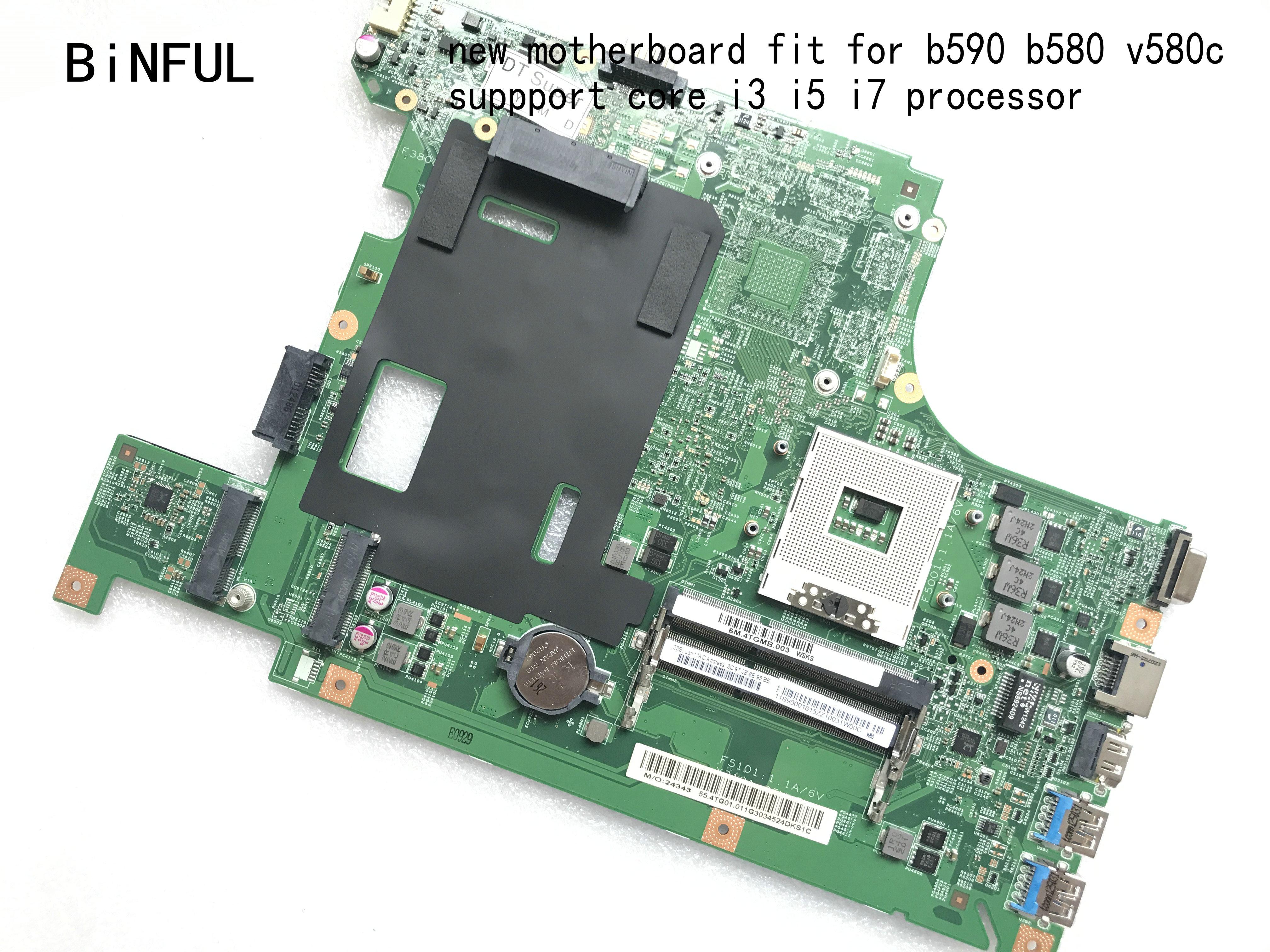 BiNFUL STOCK, LA58 11273-1 48.4TE01.011 Fit FOR LENOVO B590 / B580 V580C LAPTOP MOTHERBOARD,HM77 ,support I3, I5 ,i7 (new  Item)