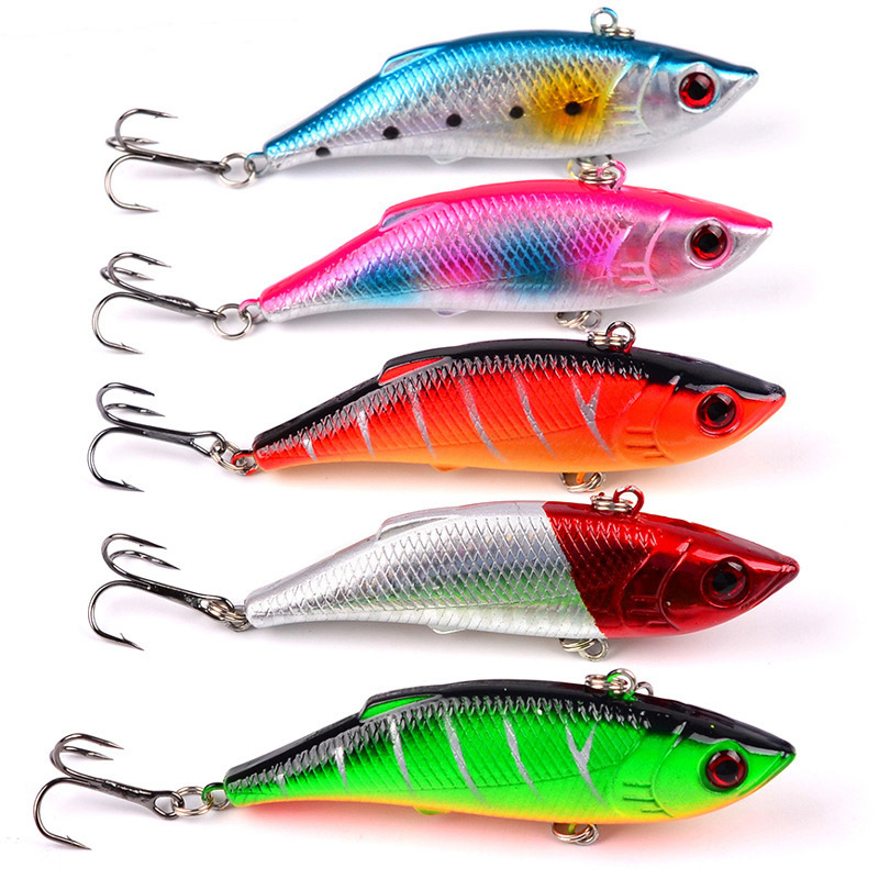 YUZI 1Pcs VIB Fishing Lures 75mm 10g vivid Vibrations Spoon Lure Fishing bait Bass Pesca Artificial Hard Bait Cicada 3D Eyes in Fishing Lures from Sports Entertainment