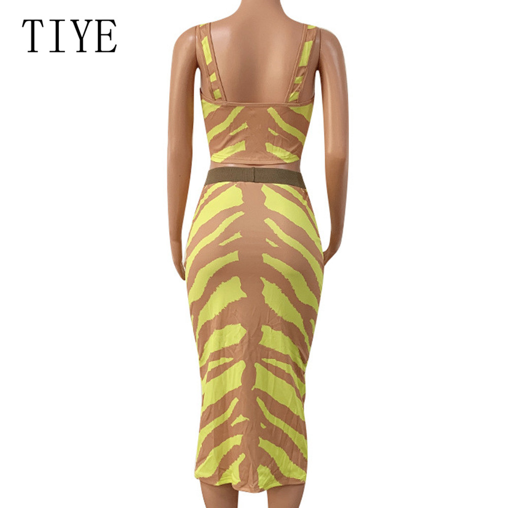 TIYE Zipper Women Two Piece Dress Summer High Waisted Striped Print Bodycon Dress Women Spaghetti Strap Casual Holiday Dresses in Dresses from Women 39 s Clothing