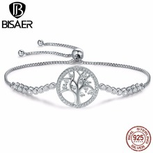 BISAER 925 Sterling Silver Tree of Life Family Tree Chain Link Femme Bracelet Tennis Bracelet for Women Fine Jewelry Pulseira tree of life 925 sterling silver tree of life family tree charms beads fit bisaer charm bracelet diy beads 925 silver jewelry