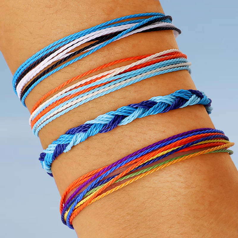 4Pcs/set Bohemian Colorful Retro Rope Hand Woven Bracelet Set Adjustable Women Party Wedding Jewelry Accessories
