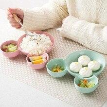 Cartoon Tableware Children Dishes Baby Dinner Plate Feeding Bowl Kids Wheat Straw Dish Set Training Dinnerware