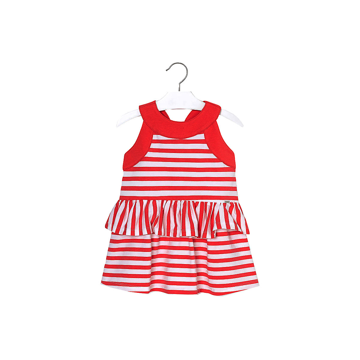 MAYORAL Dresses 10881603 Girl Children fitted pleated skirt Red Cotton Casual Striped Knee-Length Sleeveless Sleeve striped raglan sleeve floral tee