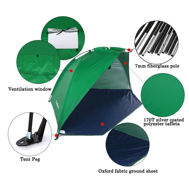 TOMSHOO Ultralight Camping Tent OutdoorBarraca Sports Sunshade Tent for Fishing Picnic Beach Park Barraca Anti-mosquito Tents 4