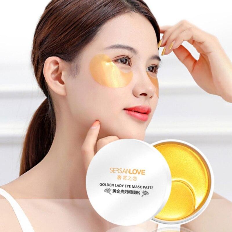 60pcs 24K Gold Crystal Collagen Eye Patches Anti Wrinkle Gel Sleep Eye Mask Remove Dark Circles Eye Bag Moisturizing Skin Care-0