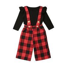 0-3Years Christmas Baby Girls Clothing Set Newborn Toddler Kid Girl Ruffles Long Sleeve T-shirt Plaid Red Pants Outfit Xmas стоимость