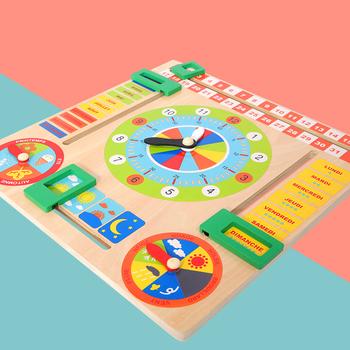 Montessori Baby drewniana płyta gra pogoda sezon czas poznawcze puzzle dziecko wczesne nauczanie edukacyjne figurki zabawki świąteczny prezent tanie i dobre opinie CN (pochodzenie) no eating Certyfikat europejski (CE) 2-4 lata 14 lat i więcej 8 ~ 13 Lat 5-7 lat multifunctional wood calendar