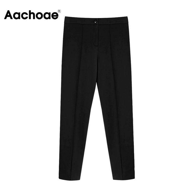 Aachoae Women Solid Elegant Pants Leggings Pleated Side Leg Split Pencil Pants Lady Zipper Fly Casual Skinny Trousers Pantalon 6