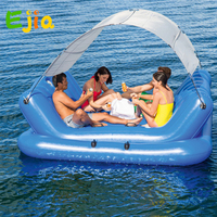 4 Person Inflatable Island With Sun Shade Float Boat 4 Cup Holder Cooler Swimming Pool Floats Bed Water Toys Pool Fun Raft Fun
