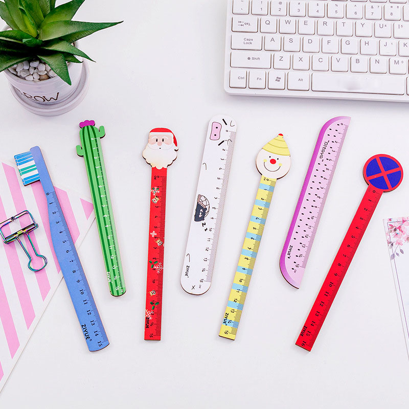 1PCS Santa Claus Clown Cactus Cartoon Cute Students Wooden Ruler 15cm Student Stationery School Office Supply