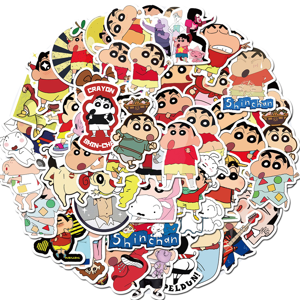 50pcs Crayon Shinchan Sticker For Luggage Skateboard Phone Laptop Moto Bicycle Wall Guitar/DIY Scrapbooking