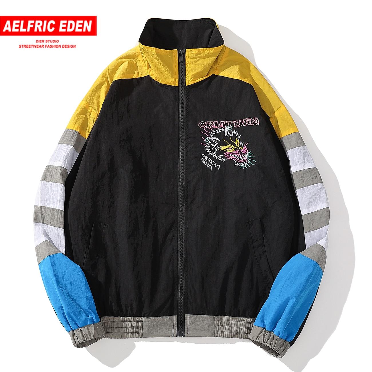 Windbreaker Coat Track Jacket Dragon Patchwork Streetwear Autumn Casual Loose Hip-Hop