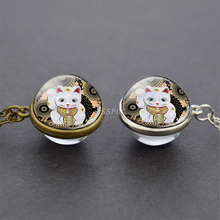 Maneki Neko Cat Glass Ball Necklace Pendant Japanese Lucky Charm Transparent Jewelry