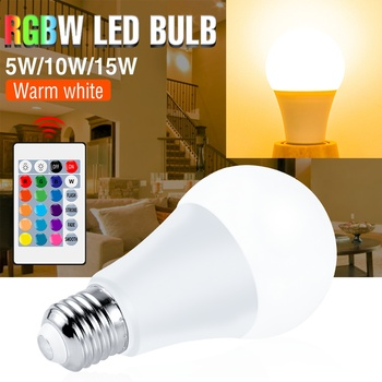 RGB Light Bulb LED Colorful Dimmable RGBW Ampoule E27 IR Remote Smart Switch AC 85-265V Decor Home Party Lamp  5W 10W 15W