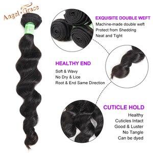 Image 2 - Onda solta brasileira pacotes com fechamento remy 100% cabelo humano 3 pacotes com fecho anjo graça pacotes de cabelo com fechamento do laço