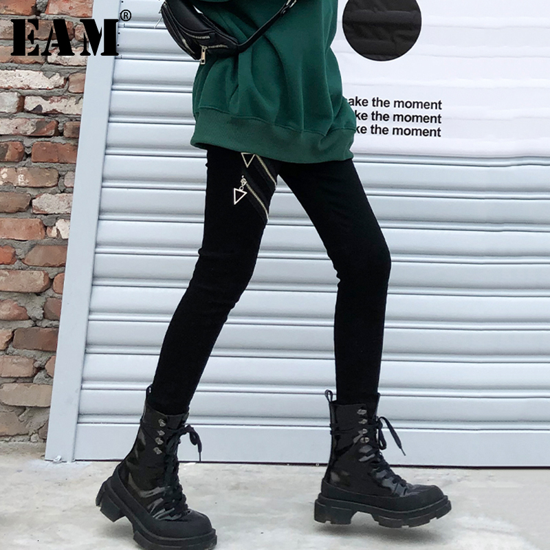 [EAM] High Elastic Waist Black Zipper Split With Fleece Long Trousers New Loose Fit Pants Women Fashion Spring Autumn 2020 1K349