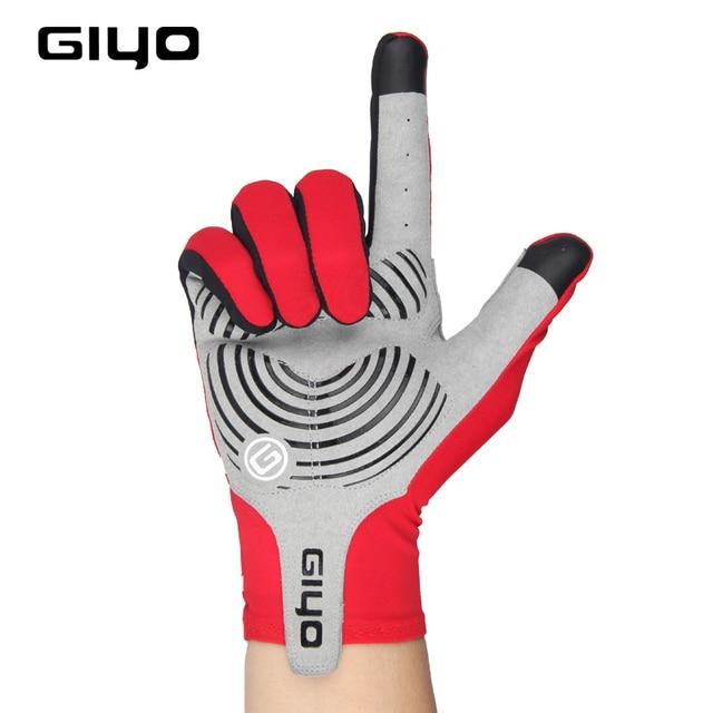 Giyo tela sensível ao toque longo dedos completos gel luvas de ciclismo esportes das mulheres dos homens bicicleta mtb estrada equitação corrida 3