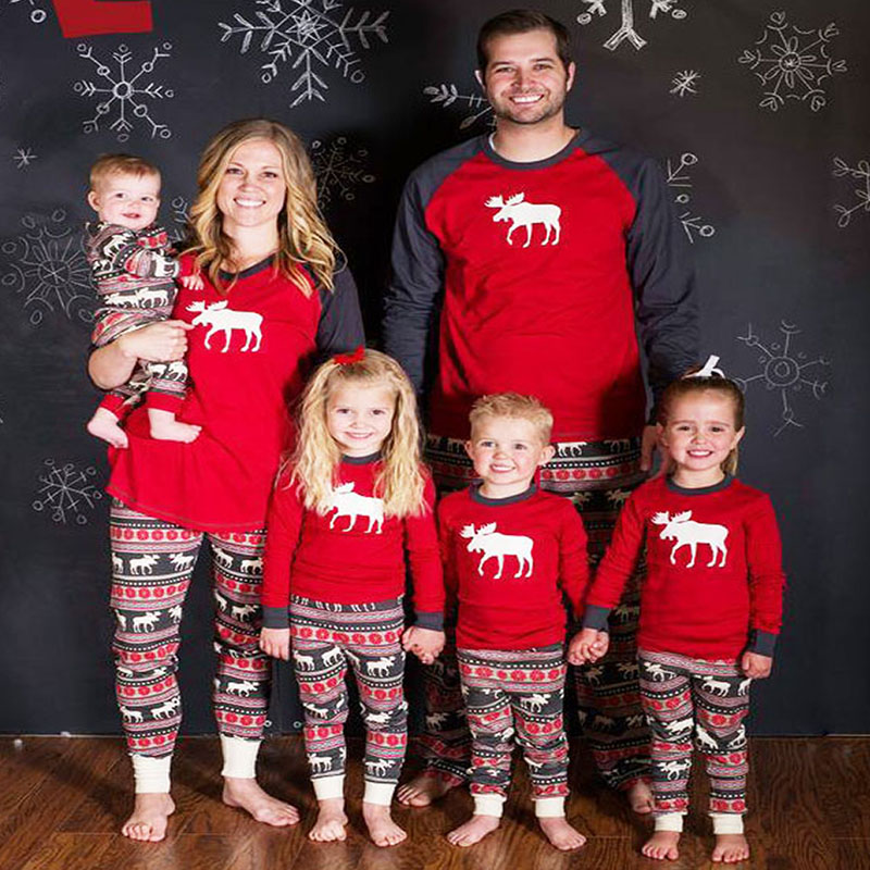 Family Christmas Pajamas Family Look Matching Outfits Sleepwear Moose Father Mother Daughter Son Clothes Matching Family Pajamas