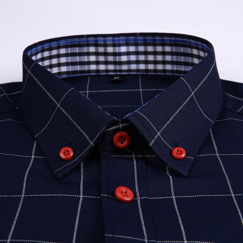 Handsome Fashion Men Shirts Casual Long Sleeved Plaid Shirt Regular Fit Male Blouse 4XL 5XL 5