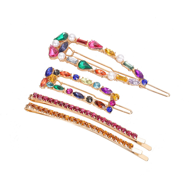1SET Korea Shiny Crystal Hairpins Women Geometric Waterdrop Colorful Rhinestones Girls Hair Accessories New Arrivals