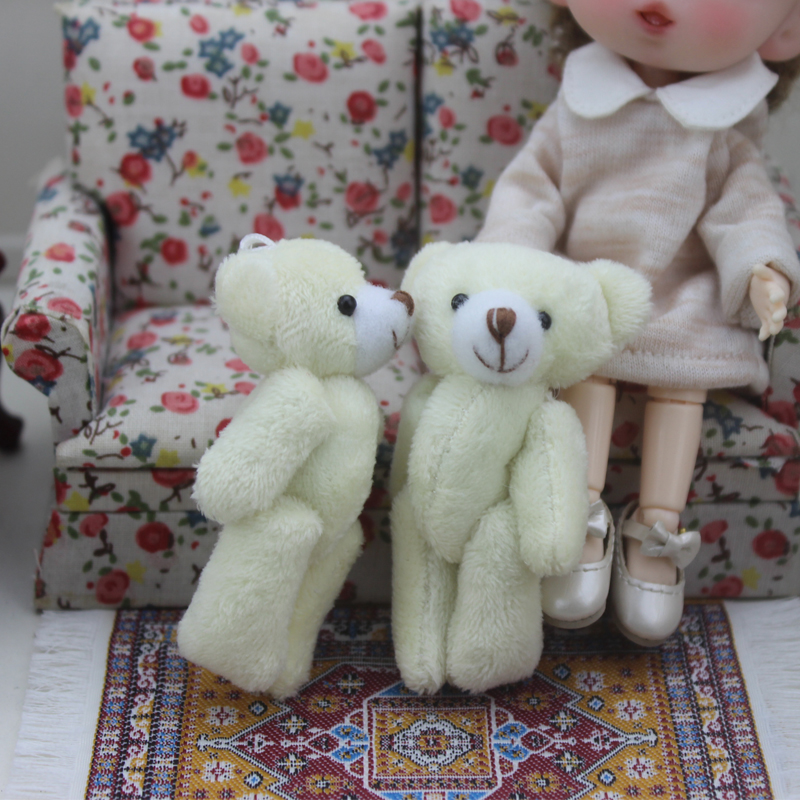 1:12 Scale Cute White Bear For Doll Dollhouse Miniature Kitchen Living Room Accessories Mini Bear Simulation Furniture Toys