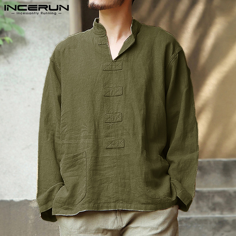 INCERUN Vintage Cotton Linen Shirt Men Casual Long Sleeve 2020 Solid Color Tops Pockets Camisa V Neck Chinese Style Mens Shirts