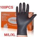 100 шт./компл. бытовые моющие одноразовые механические перчатки черные нитриловые лабораторные антистатические перчатки для дизайна ногтей
