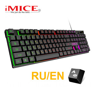 Wired Gaming Keyboard Mechanical Feeling Backlit Keyboards USB 104 Keycaps Russian Keyboard Waterproof Computer Game Keyboards(China)