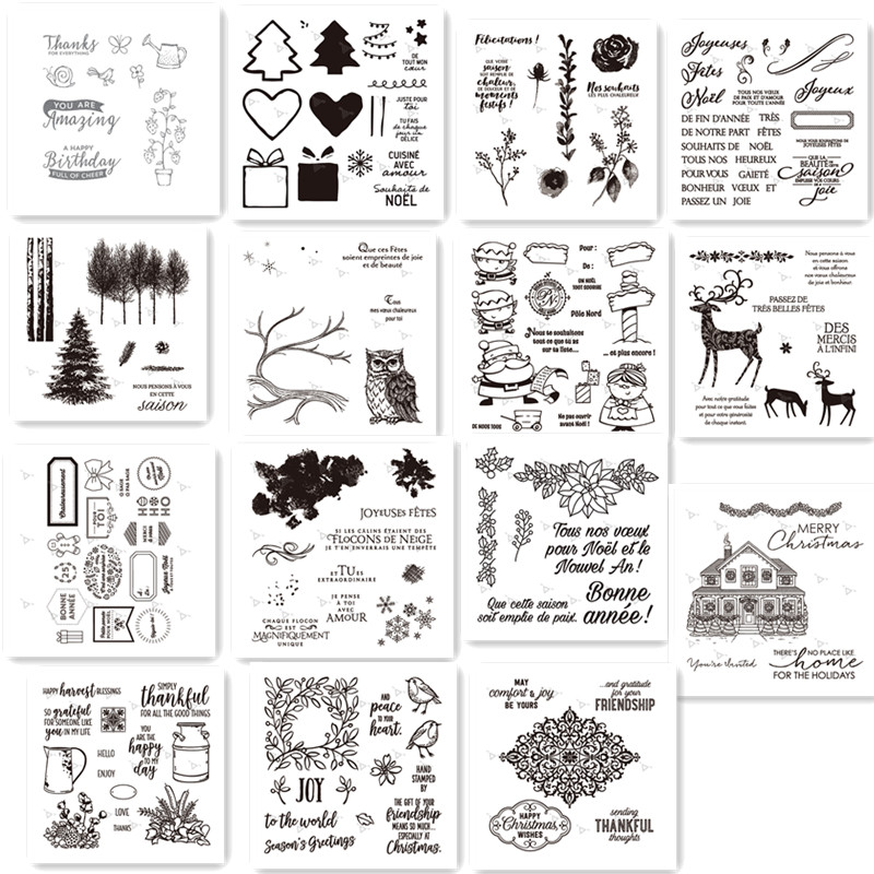French <font><b>Merry</b></font> <font><b>Christmas</b></font> Clear Silicone Stamps Stencils for DIY Scrapbooking <font><b>Die</b></font> <font><b>Cuts</b></font> Papers Cards craft <font><b>dies</b></font> image