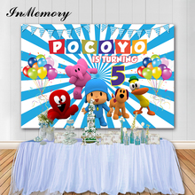 Inmemory Cartoon Foto Achtergronden Pocoyo Thema Kinderen Verjaardagsfeestje Kleurrijke Ballonnen Fotografische Backdgrounds Voor Studio