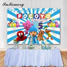 В памяти мультфильм фон для фотосъемки с изображением Pocoyo тема детский день рождения вечерние цветных воздушных шаров для фотосъемки Backdgrounds для студии