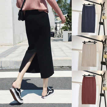Elastic Waist Knitted Autumn Winter Skirt Women Solid Split Fashion Casual Straight Mid-Calf Empire Skirts han edition of new winter skirts long elastic waist side split knitted dress