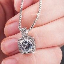 New Fashion 2019 Square Rhinestone Crystal Zircon Pendant Necklace Women Silver Metal Chain Necklace Jewelry chic faux crystal square pendant necklace for women