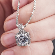 New Fashion 2019 Square Rhinestone Crystal Zircon Pendant Necklace Women Silver Metal Chain Necklace Jewelry(China)