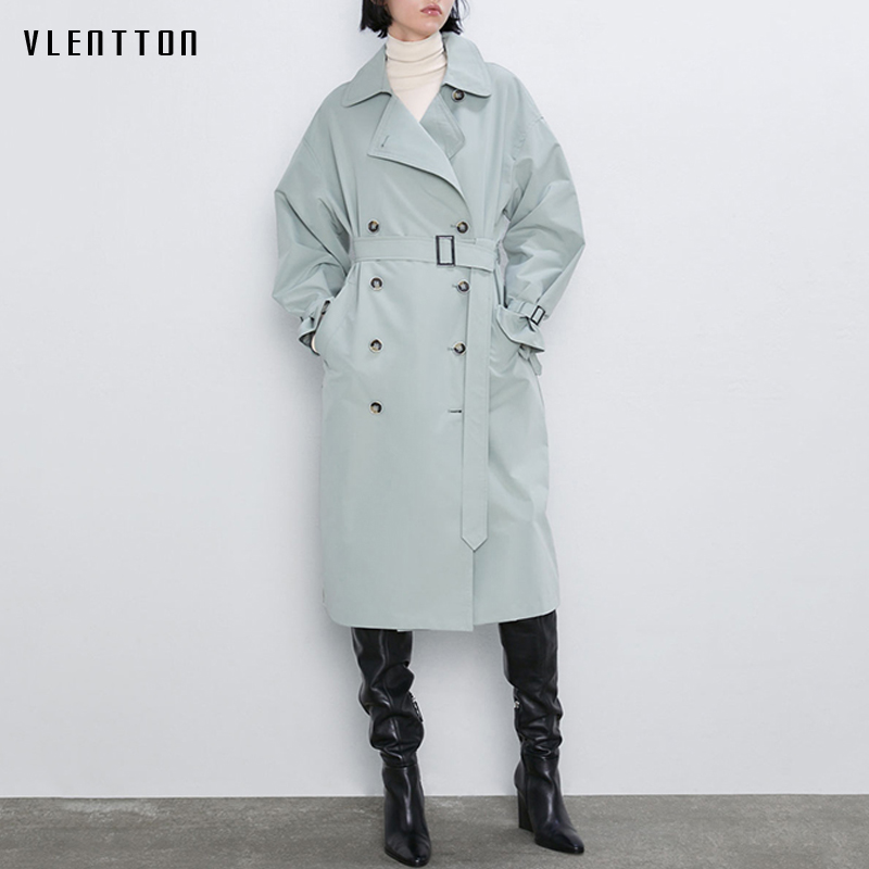 Autumn Winter Long Female   Trench   Coat Outwear Chic Double Breasted Sashes Casual Overcoat Office Women's Windbreaker Ropa Mujer