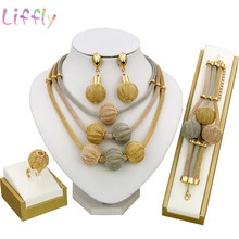 Liffly Dubai Gold Jewelry Sets for Women Necklace Bracelet Ball Shape Earrings Ring Creative Wedding Jewelry Sets for Bride(China)