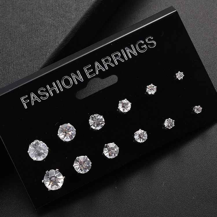 Fashion 6 Pair/lot White Black Cubic Zirconia Earrings Set Men Women Stainless Steel Round Jewelry Gifts