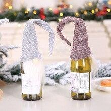 Новые рождественские украшения, скандинавский Санта Клаус, красное вино, набор с бутылкой шампанского, Рождественская елка, украшение, макет сцены HR
