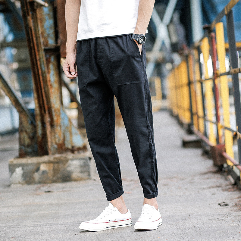 2018 New Style Hong Kong Style Cotton Linen Fashion Casual Pants Loose MEN'S Trousers Capri Pants Fashion