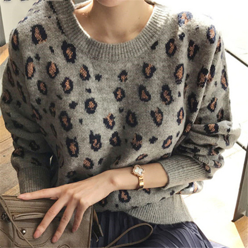 Ailegogo New 2020 Autumn Winter Women's Sweaters Pullovers Leopard Korean Style Knitted Stylish Female Jumpers SW9539 1