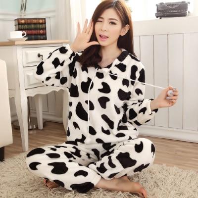 Special Price Autumn Winter Warm Women Pyjamas Sets Thick Coral Velvet Long Sleeve Cartoon Sleepwear Thin Flannel Pajamas Set 29