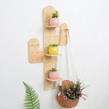 Nordic drewniany kształt kaktusa otwór płyta półka ścienna kreatywny stojak do przechowywania w domu dekoracje ścienne akcesoria do dekoracji wnętrz tanie i dobre opinie Nowoczesne Drewna Do Montażu Na Ścianie Nordic Wooden Cactus Shape Hole Plate Wall Shelf Blue Carton Box+Bubble Bag BS-122502
