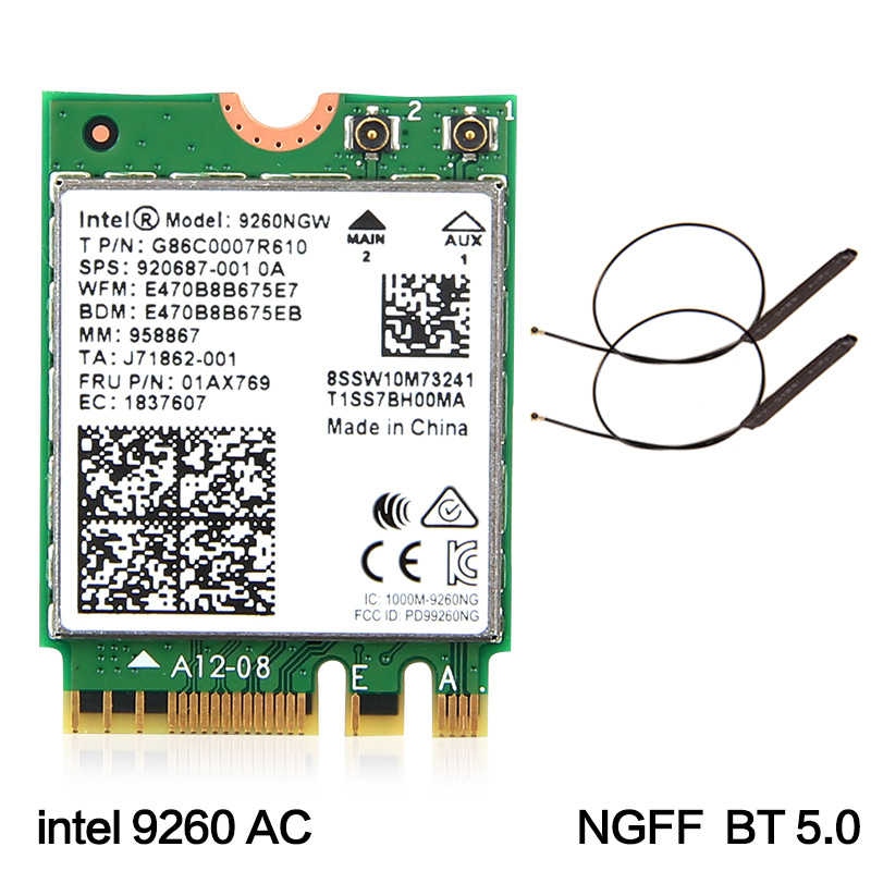 Double bande sans fil-AC 9260 pour Intel 9260NGW NGFF 802.11Ac MU-MIMO 1730Mbps 1.73Gbps WiFi + Bluetooth 5.0 carte adaptée à Windows 10