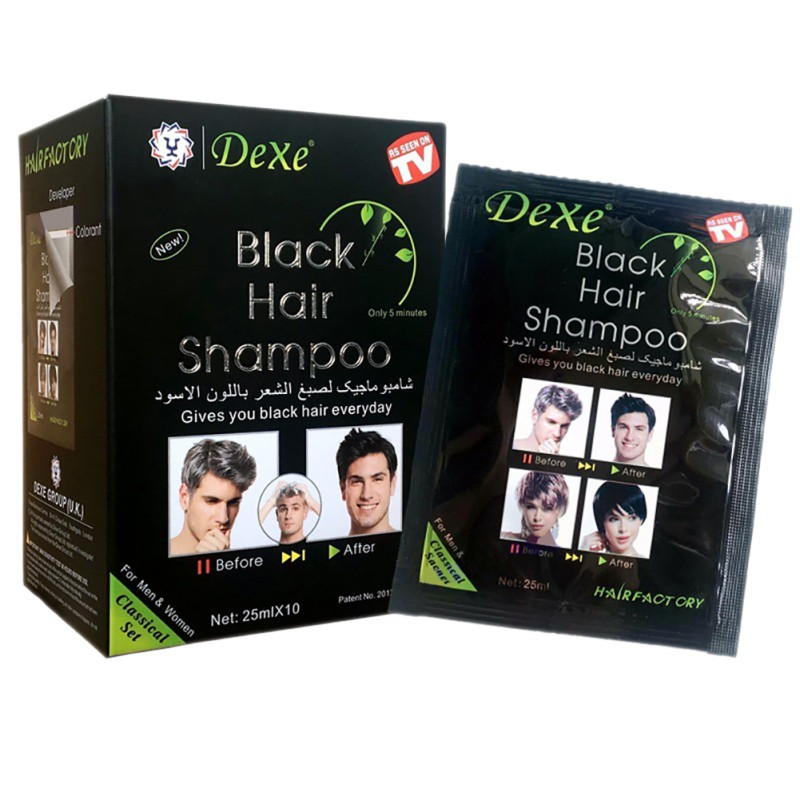 2020 Only 5 Minutes Grey Hair Removal Dye Hair Coloring 10pcs/lot Makeup Brand Black Hair Shampoo image