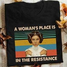 Футболка Leia Princess A Women's Place Is In The сопротивление, черная Хлопковая мужская Свободная футболка S6Xl