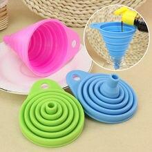 Embudos plegables de silicona, Mini accesorios de cocina portátiles, herramienta dispensadora de líquido